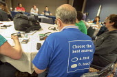Chicago, USA Labor Notes conference A teacher wearing a t-shirt favoring teaching over testing. He was one of three thousand union activists attending the biannual meeting. Labor Notes is an organizat... - Jim West - 08-04-2018
