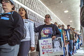 California, USA People of faith and immigrant families hold a protest vigil at The Richmond Detention Center where immigrants are imprisoned before being deported - David Bacon - 07-04-2018