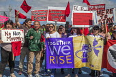 California, USA Migrant farm workers and their supporters march in protest at immigration raids. Organized by the UFW union, also celebrating the birthday of union founder Cesar Chavez. UFW President... - David Bacon - united farm workers,2010s,2018,activist,activists,AFL CIO,AFL-CIO,Arturo Rodriguez,California,CAMPAIGNING,CAMPAIGNS,CELEBRATE,celebrating,child,CHILDHOOD,children,CtW,DEMONSTRATING,demonstration,Diasp
