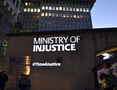 Vigil for Justice defending legal aid, Justice Alliance, Ministry of Justice, London Ministry of Injustice projected onto the building - Stefano Cagnoni - 18-04-2018
