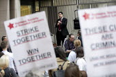 Richard Burgon MP speaking Vigil for Justice defending legal aid, Justice Alliance, Ministry of Justice, London - Jess Hurd - 18-04-2018