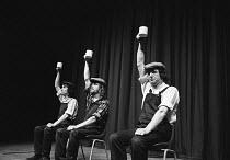 CLAP music theatre group production, The Shaw Theatre, London 1974. (L to R) Roger Marsh, Tom Endrich, Bernard Rands - Peter Harrap - 17-02-1974