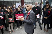 Sadiq Khan campaigning with Dr Rosena Allin-Khan MP and Harriet Harman MP, Labour Party local election campaign, Earlsfield ward, Wandsworth, London - Jess Hurd - 2010s,2018,BAME,BAMEs,Black,BME,bmes,campaign,campaigning,CAMPAIGNS,candidate,candidates,cities,City,DEMOCRACY,diversity,Dr Rosena Allin-Khan,Earlsfield,election,elections,ethnic,ethnicity,FEMALE,Harr