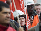 Workers Memorial Day commemoration Tower Hill London 2018. Construction workers and members of UNITE. Annual event to protest against and commemorate lives lost and injuries sustained in the workplace... - Stefano Cagnoni - 2010s,2018,activist,activists,BAME,BAMEs,Black,BME,bmes,CAMPAIGNING,CAMPAIGNS,Construction worker,construction workers,death,death at work,deaths,DEMONSTRATION,died,diversity,ethnic,ethnicity,FEMALE,h