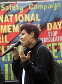 Workers Memorial Day commemoration Tower Hill London 2018. Moyra Samuels speaking, Justice for Grenfell Campaign. Annual event to protest against and commemorate lives lost and injuries sustained in t... - Stefano Cagnoni - 2010s,2018,activist,activists,BAME,BAMEs,banner,banners,Black,BME,bmes,CAMPAIGNING,CAMPAIGNS,death,death at work,deaths,DEMONSTRATION,died,diversity,ethnic,ethnicity,FEMALE,health and safety,Internati