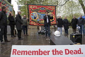 Workers Memorial Day commemoration Tower Hill London 2018. Moyra Samuels speaking, Justice for Grenfell Campaign. Annual event to protest against and commemorate lives lost and injuries sustained in t... - Stefano Cagnoni - 2010s,2018,activist,activists,BAME,BAMEs,banner,banners,Black,BME,bmes,CAMPAIGNING,CAMPAIGNS,casket,coffin,death,death at work,deaths,DEMONSTRATION,died,diversity,ethnic,ethnicity,FEMALE,hard hat,hard