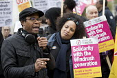 Brian Richardson speaking Solidarity with Windrush generation and their families Stand Up to Racism protest as the issue is debated in Parliament, Westminster, London - Jess Hurd - 30-04-2018
