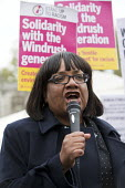 Diane Abbott MP speaking Solidarity with Windrush generation and their families Stand Up to Racism protest as the issue is debated in Parliament, Westminster, London - Jess Hurd - 30-04-2018