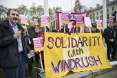Kevin Courtney NEU speaking Solidarity with Windrush generation and their families Stand Up to Racism protest as the issue is debated in Parliament, Westminster, London - Jess Hurd - 2010s,2018,activist,activists,against,Anti Racism,anti racist,banner,banners,bigotry,CAMPAIGNING,CAMPAIGNS,Caribbean,DEMONSTRATING,demonstration,Diaspora,DISCRIMINATION,equal,equality,foreign,foreigne