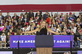Washington Township, Michigan USA: Lara Trump speaking President Donald Trump campaign rally - Jim West - 2010s,2018,America,american,americans,campaign,CAMPAIGNING,CAMPAIGNS,Far Right,Far Right,FEMALE,horizontal,Lara Trump,Lara Yunaska,Macomb County,Michigan,nationalism,nationalist,nationalists,people,pe