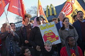 McDonalds workers strike for £10 per hour, an end to zero hours contracts and union recognition on International Workers Day, Cambridge - Jess Hurd - 01-05-2018