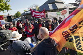 Martin Harding, FBU speaking in solidarity with McDonalds workers strike for £10 per hour, an end to zero hours contracts and union recognition on International Workers Day, Cambridge - Jess Hurd - 01-05-2018