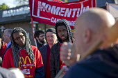 Martin Harding, FBU speaking McDonalds workers strike for £10 per hour, an end to zero hours contracts and union recognition on International Workers Day, Cambridge - Jess Hurd - 01-05-2018