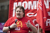 Ian Hodson BFAWU, speaking McDonalds workers strike for £10 per hour, an end to zero hours contracts and union recognition on International Workers Day, Watford, home to global CEO Steve Easterbrook - Jess Hurd - 01-05-2018