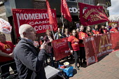 Doug Nicholls, GFTU speaking McDonalds workers strike for £10 per hour, an end to zero hours contracts and union recognition on International Workers Day, Watford, home to global CEO Steve Easterbroo... - Jess Hurd - 2010s,2018,£10 per hour,ACTIVIST,ACTIVISTS,against,banner,banners,BFAWU,campaign,campaigner,campaigners,campaigning,CAMPAIGNS,catering,contract,contracts,DEMONSTRATING,demonstration,DEMONSTRATIONS,di
