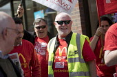 Ronnie Draper, BFAWU speaking McDonalds workers strike for £10 per hour, an end to zero hours contracts and union recognition on International Workers Day, Watford, home to global CEO Steve Easterbro... - Jess Hurd - 01-05-2018