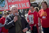 Doug Nicholls, GFTU speaking McDonalds workers strike for £10 per hour, an end to zero hours contracts and union recognition on International Workers Day, Watford, home to global CEO Steve Easterbroo... - Jess Hurd - 01-05-2018