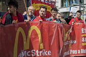 McDonalds workers strike for £10 per hour, an end to zero hours contracts and union recognition on International Workers Day, Watford, home to global CEO Steve Easterbrook - Jess Hurd - 01-05-2018
