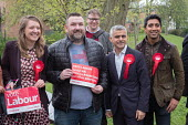 Sadiq Khan with Camden Council leader Georgia Gould and Swiss Cottage ward election candidates. Labour Party local election campaign, Fortune Green, West Hampstead and Seiss Cottage wards, London Boro... - Philip Wolmuth - 02-05-2018
