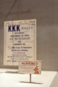 Jackson, Mississippi, USA: The Mississippi Civil Rights Museum. A calling card from the Ku Klux Klan. History of the American Civil Rights Movement in the state of Mississippi between 1945 and 1970 - Jim West - 2010s,2018,ACE,African American,America,american,americans,bigotry,black,business card,calling card,case,civil rights,civil rights movement,civil rights museum,Culture,discrimination,display,displays,