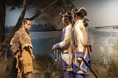 "Jackson, Mississippi, USA: The Museum of Mississippi History. A diorama showing French colonists making a ""peaceful exchange"" with Bayogoula Indians in 1699 - Jim West - 24-04-2018"