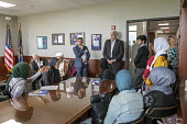 Lansing, Michigan, USA: Muslim high school students from Al-Ikhlas Training Academy Detroit visiting Republican State Senator Ken Horn and discussing issues they are concerned about. Annual Michigan M... - Jim West - 2010s,2018,academies,Academy,adolescence,adolescent,adolescents,Al-Ikhlas Training Academy,BAME,BAMEs,Black,BME,bmes,child,CHILDHOOD,children,communicating,communication,conversation,conversations,deb