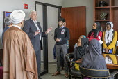 Lansing, Michigan, USA: Muslim high school students from Al-Ikhlas Training Academy Detroit visiting Republican State Senator Ken Horn and discussing issues they are concerned about. Annual Michigan M... - Jim West - 09-05-2018