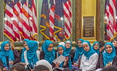 Lansing, Michigan, USA: Muslim high school students visiting the Michigan state capitol, annual Michigan Muslim Capitol Day - Jim West - 09-05-2018