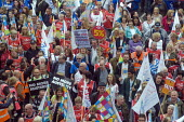 TUC New Deal For Working People demonstration London 2018. USDAW, PCS, NASUWT members on the march - Stefano Cagnoni - 2010s,2018,activist,activists,Austerity Cuts,campaign,campaigning,CAMPAIGNS,DEMONSTRATING,demonstration,London,march,member,member members,members,NASUWT,New Deal For Working People,PCS,placard,placar