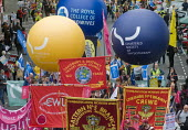 TUC New Deal For Working People demonstration London 2018. CSP, RCM, CWU members protest - Stefano Cagnoni - 2010s,2018,activist,activists,Austerity Cuts,balloon,balloons,banner,banners,campaign,campaigning,CAMPAIGNS,CSP,CWU,DEMONSTRATING,demonstration,London,march,member,member members,members,New Deal For