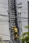Detroit, Michigan, USA: Frefighter climbing a ladder amid electrical and communications cables, building fire, East side - Jim West - 2010s,2018,adult,adults,America,american,americans,building,BUILDINGS,burn,burning,BURNS,cable,cables,cabling,cities,City,climb,climbed,climbing,danger,dangerous,dangers,Detroit,DIA,electric,ELECTRICA
