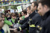Local community thanking the firefighters. Silent march in memory of the victims of Grenfell Tower fire on the first anniversary, Kensington, London - Jess Hurd - 1st,2010s,2018,activist,activists,adult,adults,against,anniversary,CAMPAIGN,campaigner,campaigners,CAMPAIGNING,CAMPAIGNS,COMMEMORATE,commemorating,commemoration,COMMEMORATIONS,commemorative,communitie