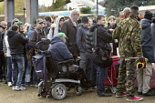 Homeless, disabled and hungry queuing for food, Coventry. The soup kitchen and food bank is provided by The Midland Langar Seva Society - John Harris - 05-11-2017
