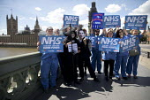 NHS staff and supporters with a Jeremy Hunt masked protestor and The Grim Reaper promoting NHS at 70 National Demonstration, Westminster, London - Jess Hurd - 21-06-2018