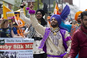 Silk Mill March, Derby. Remembering the workers locked out by the owners for joining a trade union in 1834. Bhangra dancers - John Harris - 23-06-2018