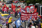 Silk Mill March, Derby. Remembering the workers locked out by the owners for joining a trade union in 1834. Indian Workers Association banner - John Harris - 23-06-2018
