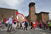 Silk Mill March, Derby. Remembering the workers locked out by the owners for joining a trade union in 1834. Thompsons Solicitors banner - John Harris - 2010s,2018,activist,activists,banner,banners,CAMPAIGNING,CAMPAIGNS,COMMEMORATE,COMMEMORATING,commemoration,COMMEMORATIONS,commemorative,DEMONSTRATING,Demonstration,locked,Locked Out,lockout,male,man,m