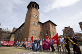 Silk Mill March, Derby. Remembering the workers locked out by the owners for joining a trade union in 1834 - John Harris - 2010s,2018,activist,activists,banner,banners,CAMPAIGNING,CAMPAIGNS,COMMEMORATE,COMMEMORATING,commemoration,COMMEMORATIONS,commemorative,DEMONSTRATING,Demonstration,locked,Locked Out,lockout,male,man,m