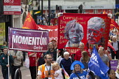 Silk Mill March, Derby. Remembering the workers locked out by the owners for joining a trade union in 1834. Labour Party Momentum banners - John Harris - 2010s,2018,activist,activists,banner,banners,CAMPAIGNING,CAMPAIGNS,COMMEMORATE,COMMEMORATING,commemoration,COMMEMORATIONS,commemorative,DEMONSTRATING,Demonstration,Jeremy Corbyn,locked,Locked Out,lock