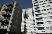 Grafton House twelfth floor fire is contained and brought under control by over 50 firefighters at a 22 story East End Homes tower block, Mile End, East London - Jess Hurd - 29-06-2018