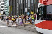 Detroit, Michigan USA Protest for the Poor Peoples Campaign against poverty, racism, militarism and ecological devastation. Blocking a QLine streetcar to protest the need for better public transport - Jim West - 18-06-2018