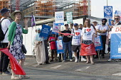 Unions and Keep Our NHS Public NHS 70th anniversary protest outside the unfinished Midland Metropolitan Hospital, construction of which stopped when Carillion went into liquidation. Ann Gallagher, com... - John Harris - 2010s,2018,activist,activists,anniversary,Birmingham,birthday,BIRTHDAYS,building,building site,buildings,CAMPAIGNING,CAMPAIGNS,communities,community,Community Union,DEMONSTRATING,Demonstration,FEMALE,