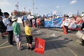 Unions and Keep Our NHS Public NHS 70th anniversary protest outside the unfinished Midland Metropolitan Hospital, construction of which stopped when Carillion went into liquidation. Ann Gallagher, com... - John Harris - 05-07-2018