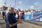 Unions and Keep Our NHS Public NHS 70th anniversary protest outside the unfinished Midland Metropolitan Hospital, construction of which stopped when Carillion went into liquidation. Bob Piper, Sandwel... - John Harris - 05-07-2018