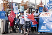 Unions and Keep Our NHS Public NHS 70th anniversary protest outside the unfinished Midland Metropolitan Hospital, construction of which stopped when Carillion went into liquidation. Sue Lowe, Unite th... - John Harris - 05-07-2018