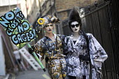 Cheddar Gorgeous and Liquorice Black Drag protest from Soho, Together Against Trump protest against the visit to the UK by US President Donald Trump, London - Jess Hurd - 2010s,2018,activist,activists,Against,CAMPAIGNING,CAMPAIGNS,costume,costumes,DEMONSTRATING,demonstration,Donald Trump,Drag,drag queens against Trump,dressed up,dressing up,equal,fancy dress,FEMALE,for