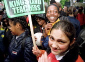 Protest by pupils and teachers at Kingsland School, outside a disiplinary hearing of 24 teachers who went on unofficial strike in defence of Mathematics teacher Indro Sen NUT rep, Hackney, East London... - Jess Hurd - 10-07-2000