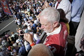 Jeremy Corbyn balcony of The County Hotel, Durham Miners Gala, 2018 - Mark Pinder - 14-07-2018