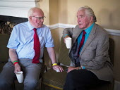 Ronnie Campbell MP and Dennis Skinner MP for Bolsover, County Hotel, Durham Miners Gala, 2018 - Mark Pinder - 2010s,2018,communicating,communication,conversation,conversations,County Durham,dialogue,discourse,discuss,discusses,discussing,discussion,DMA,Durham Miners Gala,Durham Miners' Gala,Hotel,HOTELS,Jerem
