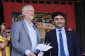 Jeremy Corbyn with Ibrahim Dogus of the Free Abdullah Ocalan campaign 2018 Durham Miners Gala - Mark Pinder - 2010s,2018,Apo,campaign,campaigning,CAMPAIGNS,County Durham,DMA,Durham Miners Gala,Durham Miners' Gala,Jeremy Corbyn,kurd,kurdish,kurds,Labour Party,member,member members,members,MINER,Miners,MINER'S,